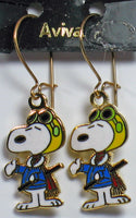 Flying Ace Cloisonne Latch Back Earrings