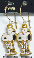 Doctor Snoopy Cloisonne Latch Back Earrings