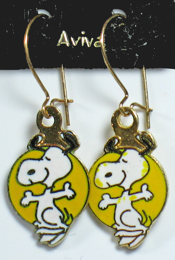 Happy Snoopy Cloisonne Latch Back Earrings