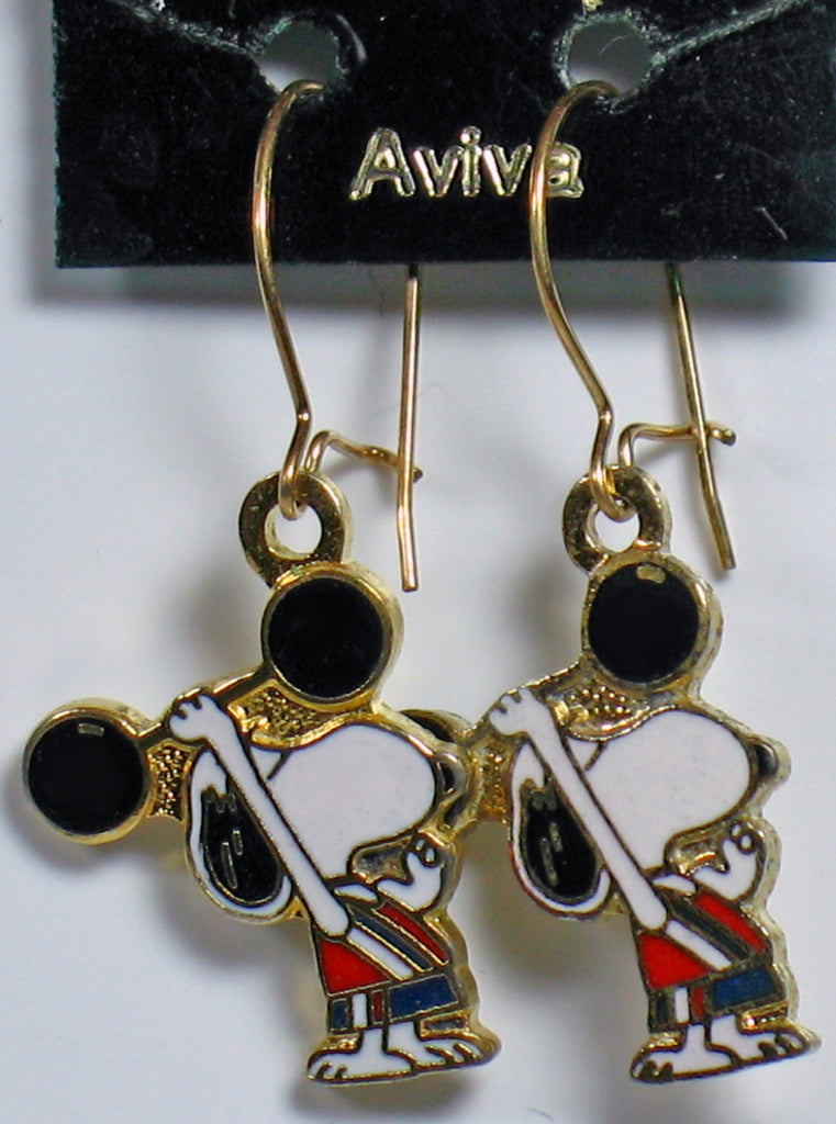 Snoopy Weight Lifter Cloisonne Latch Back Earrings