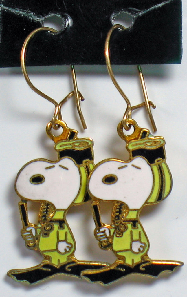 Snoopy Scuba Diver Cloisonne Latch Back Earrings