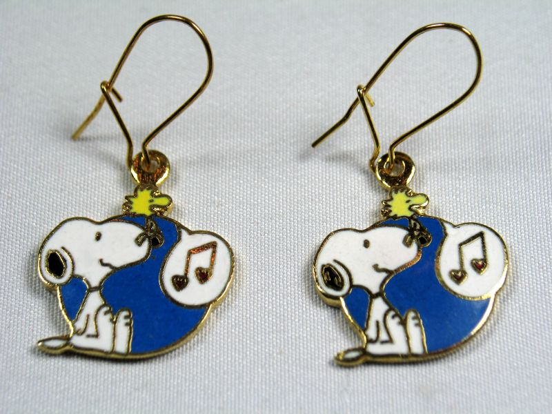 Woodstock Singing Cloisonne Latch Back Earrings