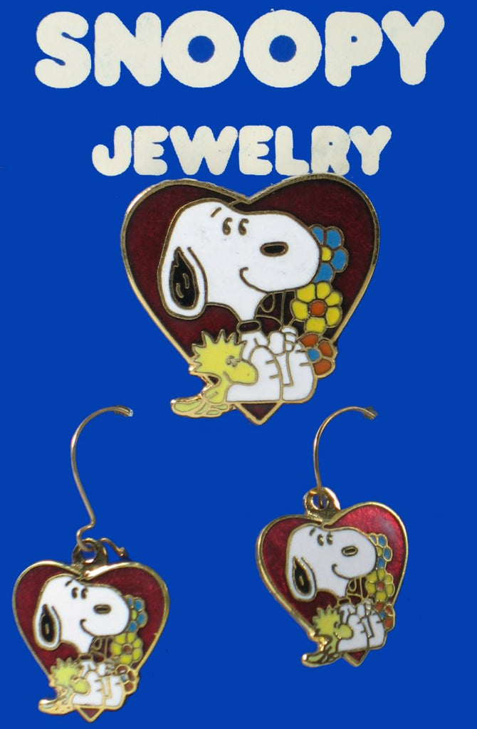 Snoopy's Heart Cloisonne Pin and Earrings Set