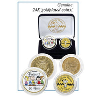 Peanuts 60th Anniversary 24K Gold Plated and Colorized 2-Piece Coin Set