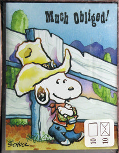 Cowboy Snoopy Vintage Blank Thank You Cards