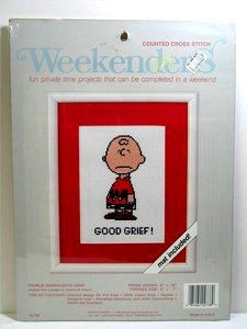 Charlie Brown Cross Stitch Kit - Good Grief!