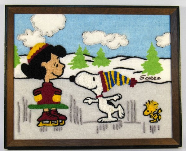Lucy and Snoopy Skaters Framed Needlepoint Picture