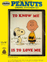 Peanuts Crewel Stitchery Kit - To Know Me Is To Love Me