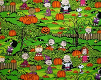 Peanuts Gang Halloween Fabric - In The Pumpkin Patch