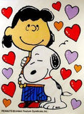 Lucy and Snoopy Hug Reusable Textured Window Stickers/Clings