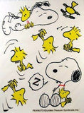 Snoopy and Woodstock Sleeping Reusable Textured Window Stickers/Clings