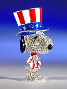 Crystal World Snoopy Jeweled Trinket Box - Patriotic Uncle Sam