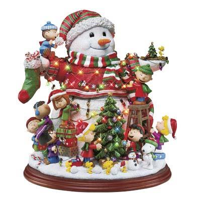 Danbury Mint Peanuts Christmas Lighted Snowman Sculpture