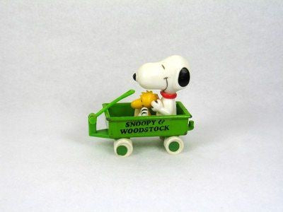Snoopy and Woodstock in metal wagon