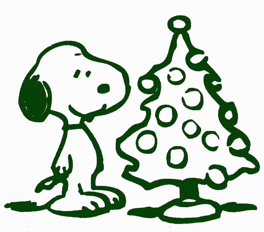 Snoopy Christmas Tree Die-Cut Vinyl Decal - Green