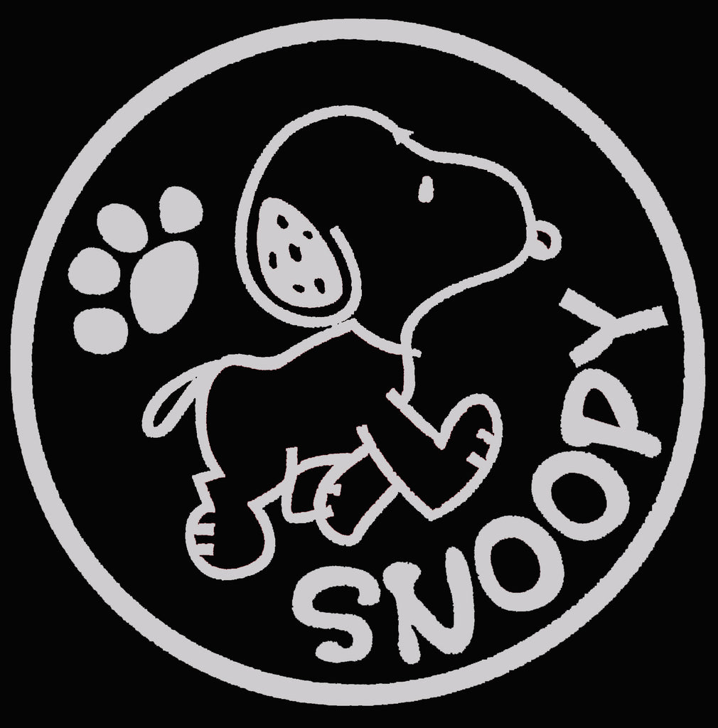 Snoopy Walking Die-Cut Vinyl Decal - Metallic Silver