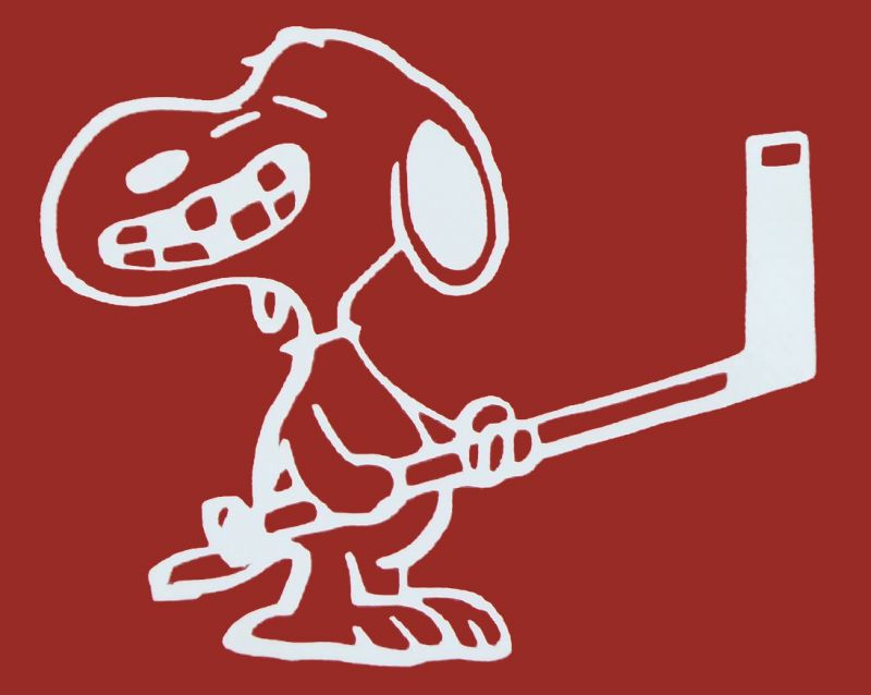 Snoopy Hockey Player Die-Cut Vinyl Decal - White