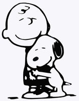 Charlie Brown and Snoopy Hug Die-Cut Vinyl Decal - Black