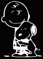 Charlie Brown and Snoopy Hug Die-Cut Vinyl Decal - White