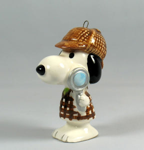 1975 Adventure Series Christmas Ornament - Snoopy Detective (Sherlock Holmes)