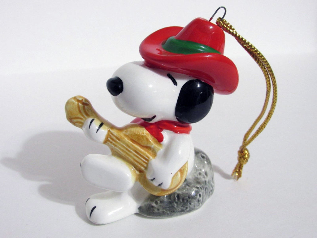 1982 Peanuts Western Series Christmas Ornament - Snoopy Cowboy Playing Guitar
