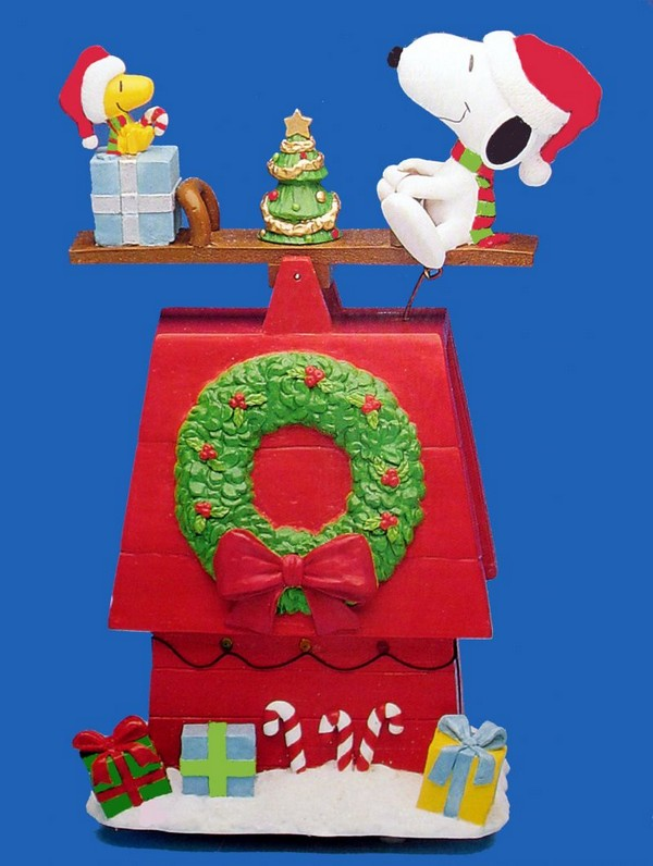 "Snoopy and Woodstock Animated, Musical, and Lighted See-Saw Doghouse - Plays ""Jingle Bell Rock"""