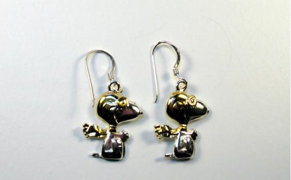 Flying Ace 2-Tone Sterling Silver With Gold Plating Earrings