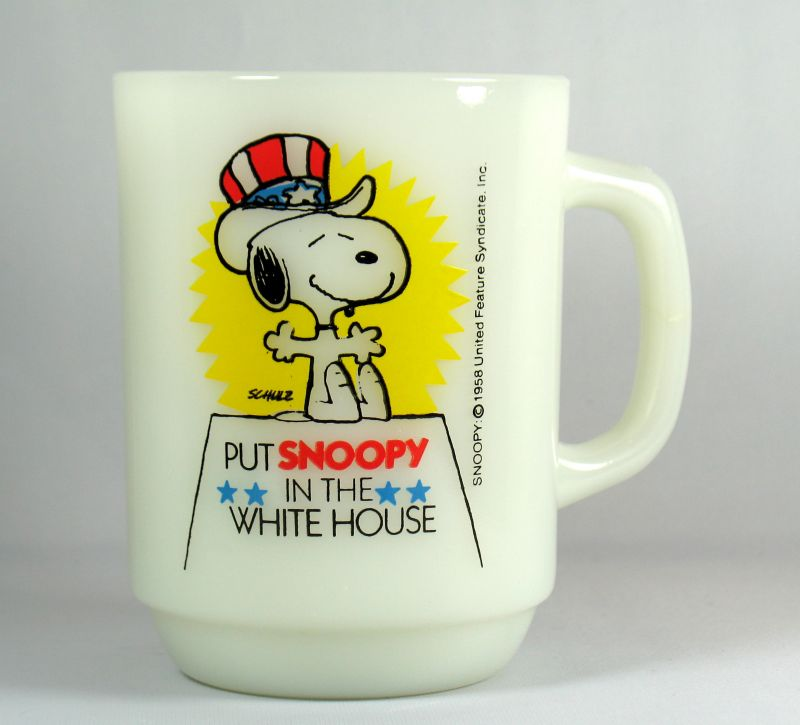 "Fire King Mug: ""Put Snoopy In The White House"""