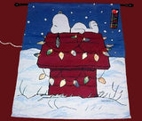 SNOOPY LIGHTED TAPESTRY CHRISTMAS Flag With Wooden Hanging Rod