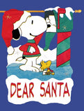 DEAR SANTA SNOOPY SCULPTED Flag