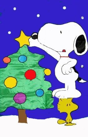 SNOOPY DECORATING CHRISTMAS TREE Flag
