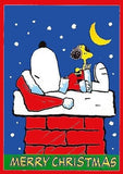 SNOOPY ON CHIMNEY CHRISTMAS Flag