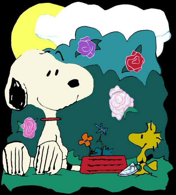SNOOPY PLANTING FLOWERS Flag