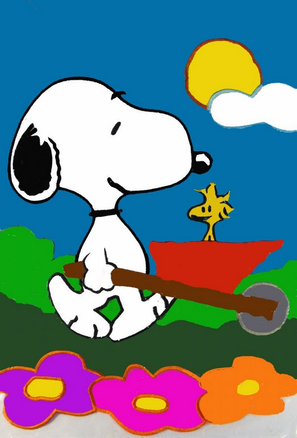 WHEELBARROW SNOOPY Flag