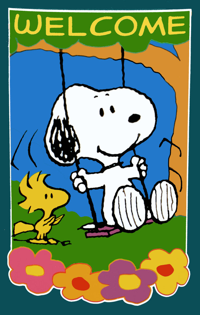 SNOOPY SWINGING WELCOME Flag