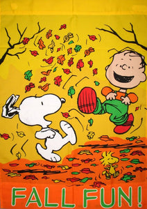 FALL FUN LINUS AND SNOOPY Flag