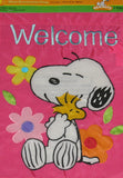 SNOOPY FLORAL WELCOME Flag