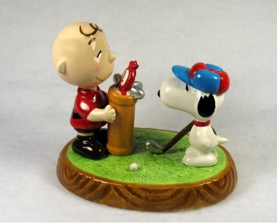 Flambro Charlie Brown and Snoopy Play Golf Figurine