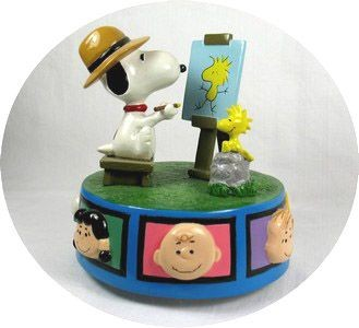 "Flambro Snoopy Artist Musical Figurine - ""Everything is beautiful"""