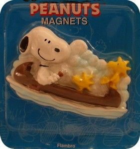 Snoopy and Woodstock In Canoe Flambro Magnet