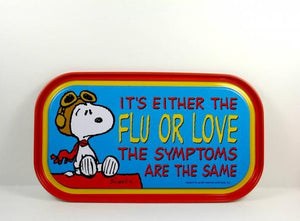 Flying Ace Magnetic Tin Tray Or Sign - The Flu Or Love