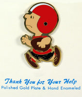 Charlie Brown Football Player Gold-Plated Pin