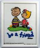 Linus and Sally Needlepoint Picture - Be A Friend