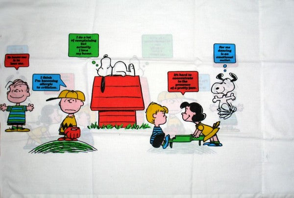 Vintage Peanuts Gang Pillow Case - Multiple Phrases