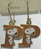 "Snoopy Alphabet Cloisonne Latch Back Earrings - Gold ""P"""