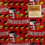 Snoopy and Woodstock Vintage Graduation Gift Wrap