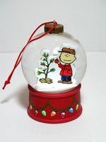 Charlie Brown By Christmas Tree Snow Globe Ornament