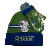 Snoopy Knit Hat and Mittens Set  - Green