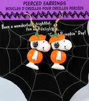 Snoopy Halloween Pumpkin Earrings