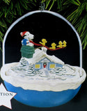1997 Snoopy Plays Santa Motion Christmas Ornament